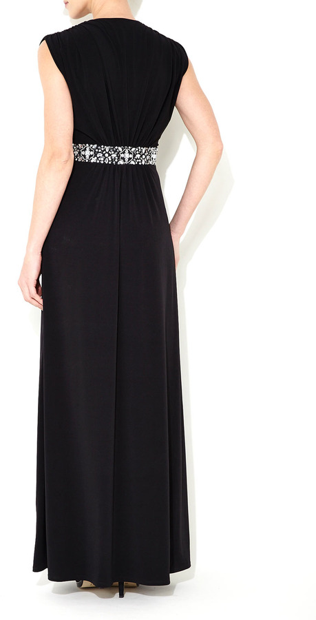 Wallis Black Embellished Waist Maxi Dress