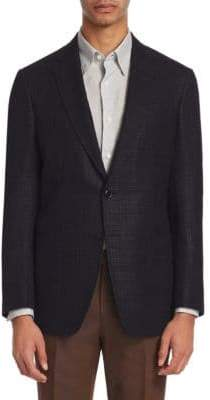 Ermenegildo Zegna Men's Basketweave Wool, Silk& Linen Blend Jacket - Blue - Size 50 (40) R