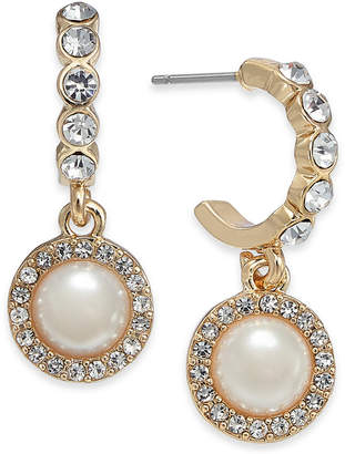Charter Club Gold-Tone Crystal & Imitation Pearl Hoop Earrings