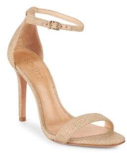 Schutz Cadey Lee Basket Weave Ankle-Strap Sandals