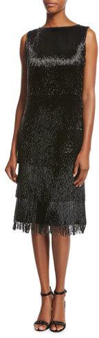 MICHAEL Michael KorsMichael Kors Collection Beaded-Fringe Sleeveless Cocktail Dress, Black
