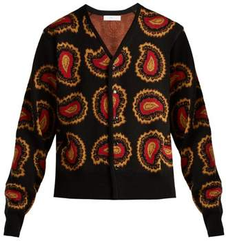 Toga - Paisley Intarsia Knit V Neck Cardigan - Womens - Black Multi