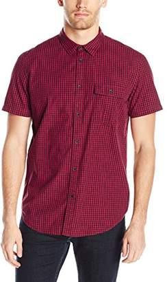 Calvin Klein Jeans Men's Short Sleeve Space Dye Gingham Print Button Down Shirt