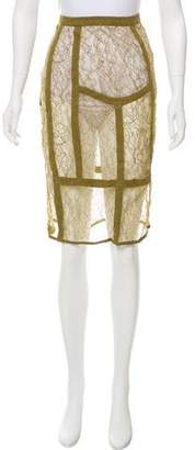 Burberry Lace Knee-Length Skirt