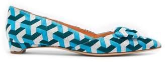 Rupert Sanderson Aga Geometric Jacquard Point Toe Flats - Womens - Blue Multi