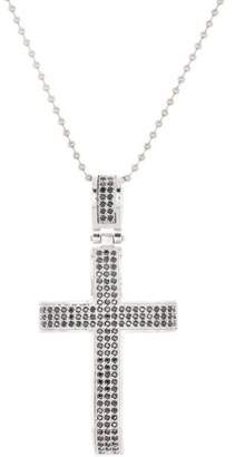 Generic Brooklyn Exchange Black Cubic Zirconia Silver-Tone Stainless Steel Concave Cross Pendant