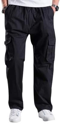 Mesinsefra Men's Full Elastic Waist Cargo Pants Tan 2XL