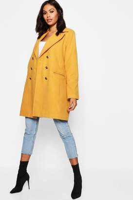 boohoo Military Button Wool Look Coat
