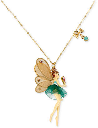 Betsey Johnson Antique Gold-Tone Fairy and Bow Pendant Necklace