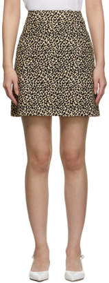 A.P.C. Beige and Black Leopard Shanya Miniskirt