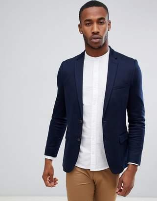 Burton Menswear Slim Jersey Blazer In Navy