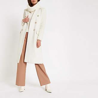 River Island Cream double-breasted longline coat