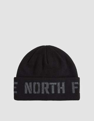 The North Face Black Box Felt Logo Beanie in TNF Black/TNF Medium Grey Heather