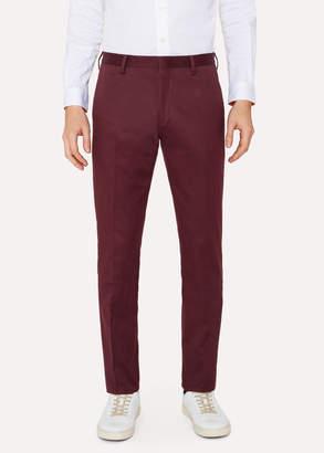 Paul Smith Men's Slim-Fit Burgundy Stretch-Cotton Twill Pants