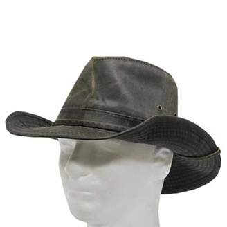 Ultrafino Indy Weathered Cotton Shapable Outback Hat with Chin Cord 7 1/4