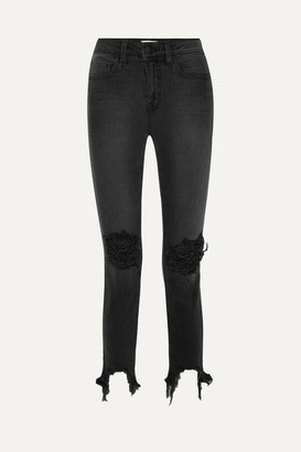 L'Agence High Line Cropped Distressed Skinny Jeans - Black