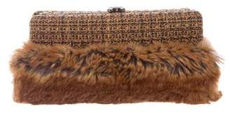 Chanel Fantasy Fur Rabbit Tweed Clutch