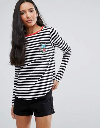 Brave Soul Striped Top With Embroidery