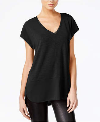 Bar Iii V-Neck Mixed-Media Top, Only at Macy's $39.50 thestylecure.com