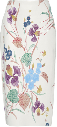 Diane von Furstenberg Floral Printed Leather Pencil Skirt $1,200 thestylecure.com