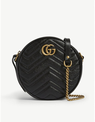 Gucci Women's Black Zigzag Marmont Round Leather Quilted Camera Bag