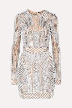 Balmain Embellished Tulle Mini Dress - Silver