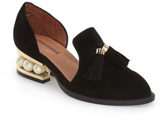 Women's Jeffrey Campbell 'Civil' Pearly Heeled Beaded Tassel Loafer $159.95 thestylecure.com