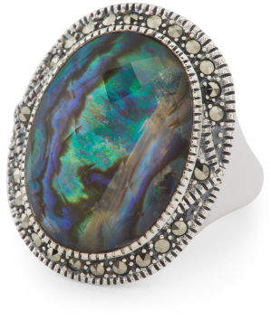 Made In Thailand 925 Silver Abalone Swarovski Marcasite Ring