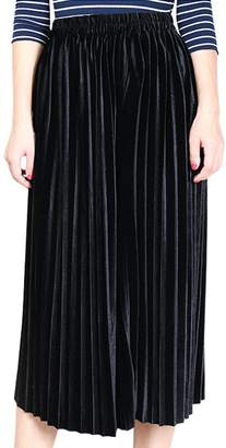 Aivtalk Gilrs Thick Velvet Pleated Skirt Knee Length Vintage Metallic Soft Solid A-Line Elastic High Waist Dress Size M