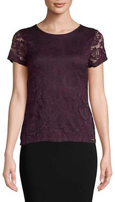 Calvin Klein Lace Knit Short Sleeve Top
