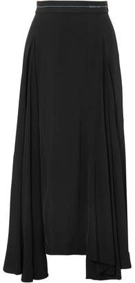 Prada - Asymmetric Pleated Satin Midi Skirt - Black