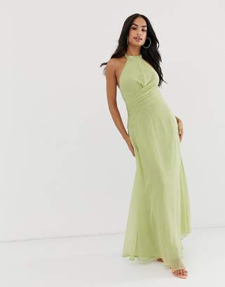 2c69591924fbd Asos Design DESIGN maxi dress with high neck and drape waist detail