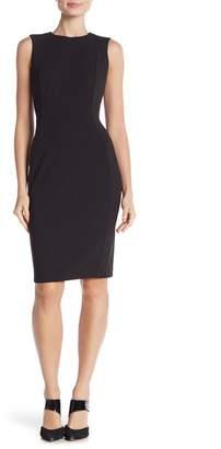 Modern American Designer Solid Crepe Sheath Dress