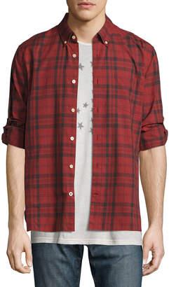 John Varvatos Plaid Slim-Fit Sport Shirt, Red