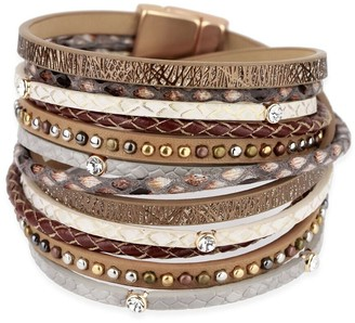 Saachi Bronze Selena Crystal & Leather Wrap Bracelet
