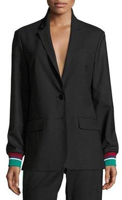 Tibi Dempsey Two-Button Suiting Blazer, Black $595 thestylecure.com