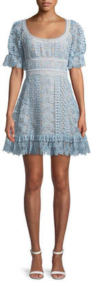 Self-Portrait Floral Guipure Lace Short-Sleeve Mini Cocktail Dress