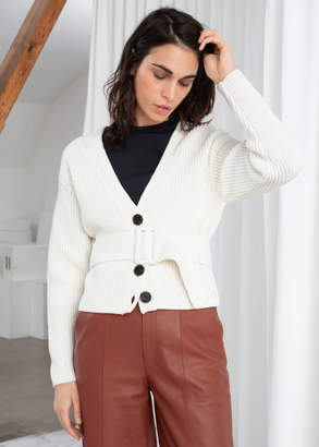 And other stories Belted V-Neck Cotton Cardigan