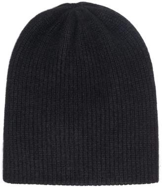 The Elder Statesman black heavy ribbed cashmere beanie