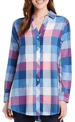 Foxcroft Hadley Buffalo Plaid Button-Down Tunic