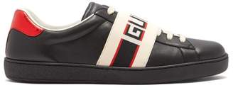 Gucci New Ace Low Top Leather Trainers - Mens - Black Multi