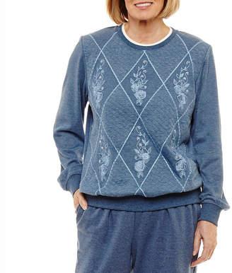 Alfred Dunner Pastel Skies Womens Crew Neck Long Sleeve Sweatshirt