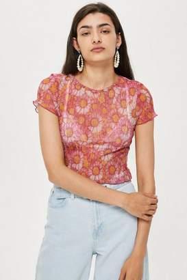 Topshop Short Sleeve Daisy Print T-Shirt