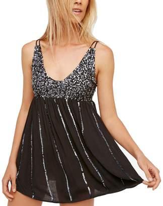 Free People Womens Glitter Girl Mini Dress L