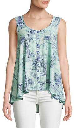 Style&Co. STYLE & CO. Printed Sleeveless Button-Down Top
