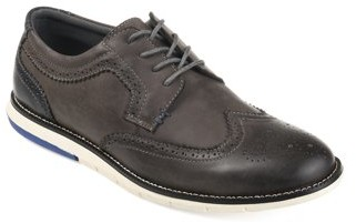 Territory Men's Genuine Leather Comfort-Sole Lace-Up Wingtip Brogue Dress Shoes