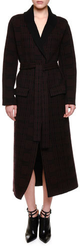 Bottega Veneta Bottega Veneta Shawl-Collar Belted Robe Coat, Black/Barolo