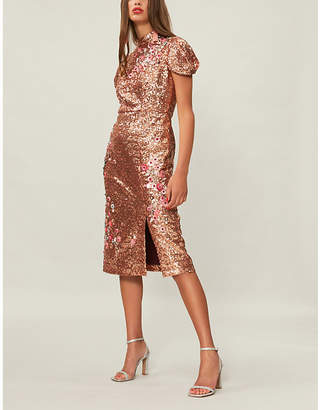 Erdem Floral-embroidered sequinned dress