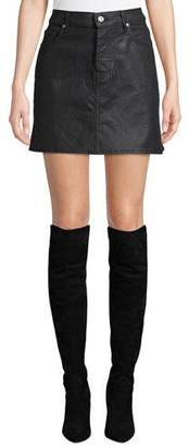 7 For All Mankind A-Line Coated Denim Mini Skirt
