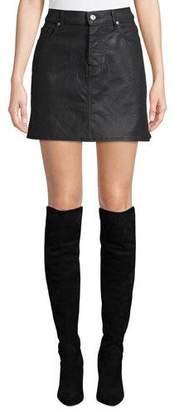 7 For All Mankind A-Line Coated Denim Mini Skirt